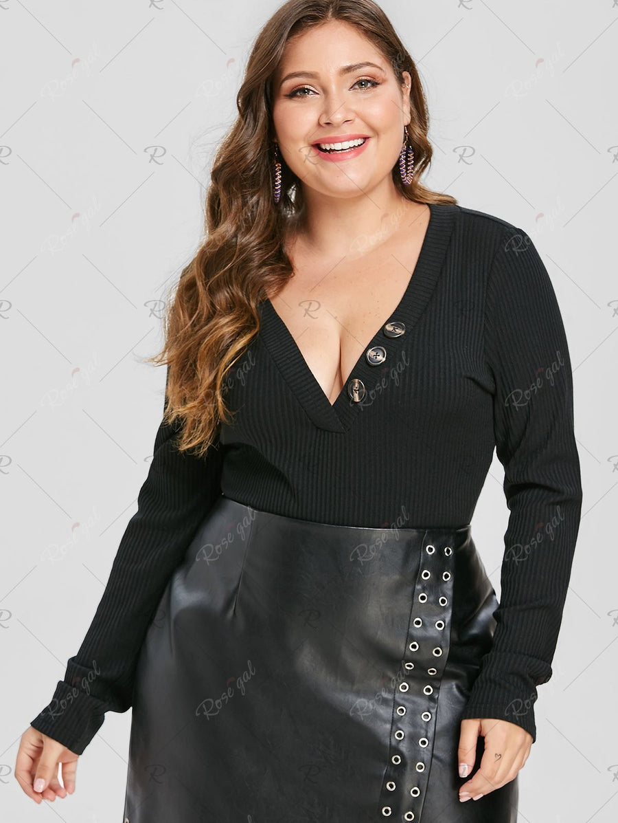 Plus Size Plunging Neck Ribbed Bodysuit
