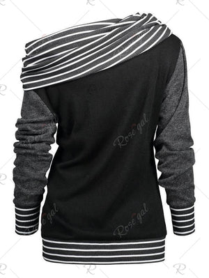 Skew Neck Striped Panel Sweatshirt