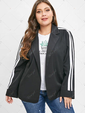 Plus Size Two Tone Blazer With Ribbons