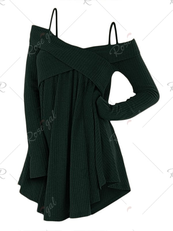 Open Shoulder Crisscross Tunic Sweater