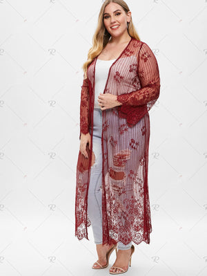 Plus Size Longline Lace Coat