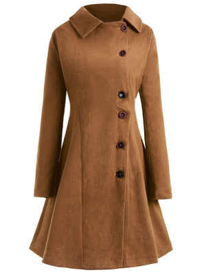 Plus Size Hooded Flare Coat