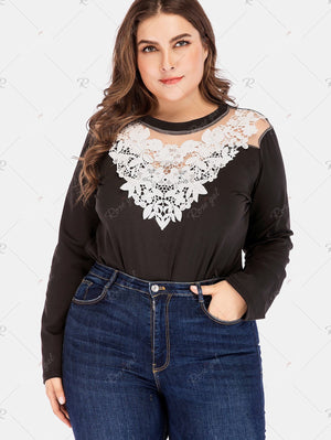Plus Size Lace Insert Long Sleeve Bodysuit