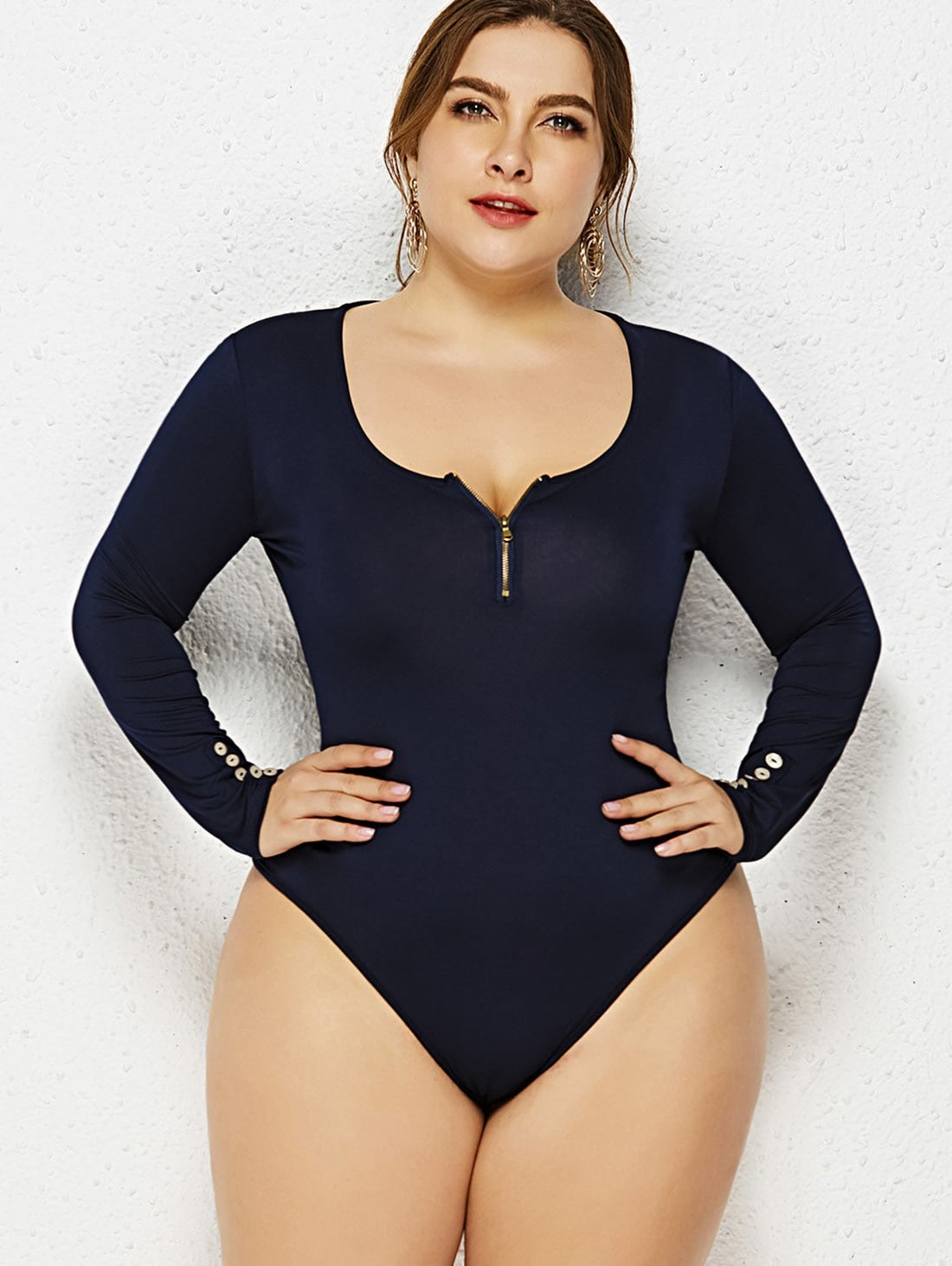 Zip Embellished Plus Size Long Sleeve Bodysuit