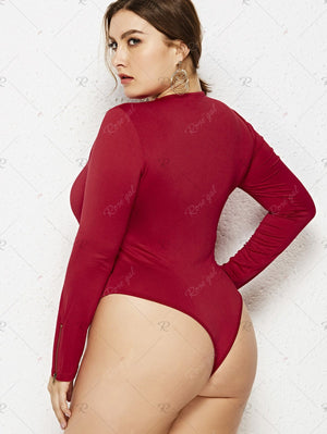Long Sleeve Plus Size Round Neck Bodysuit