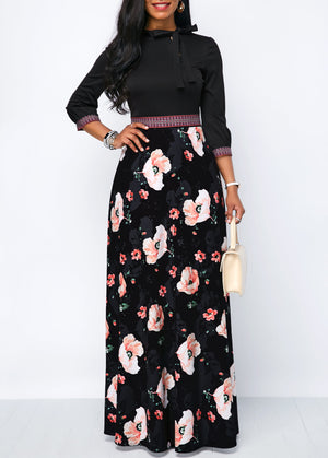 Flower Print Band Waist Tie Neck Maxi Dress