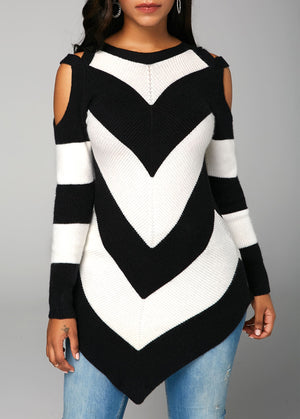 Asymmetric Hem Long Sleeve Cold Shoulder Sweater