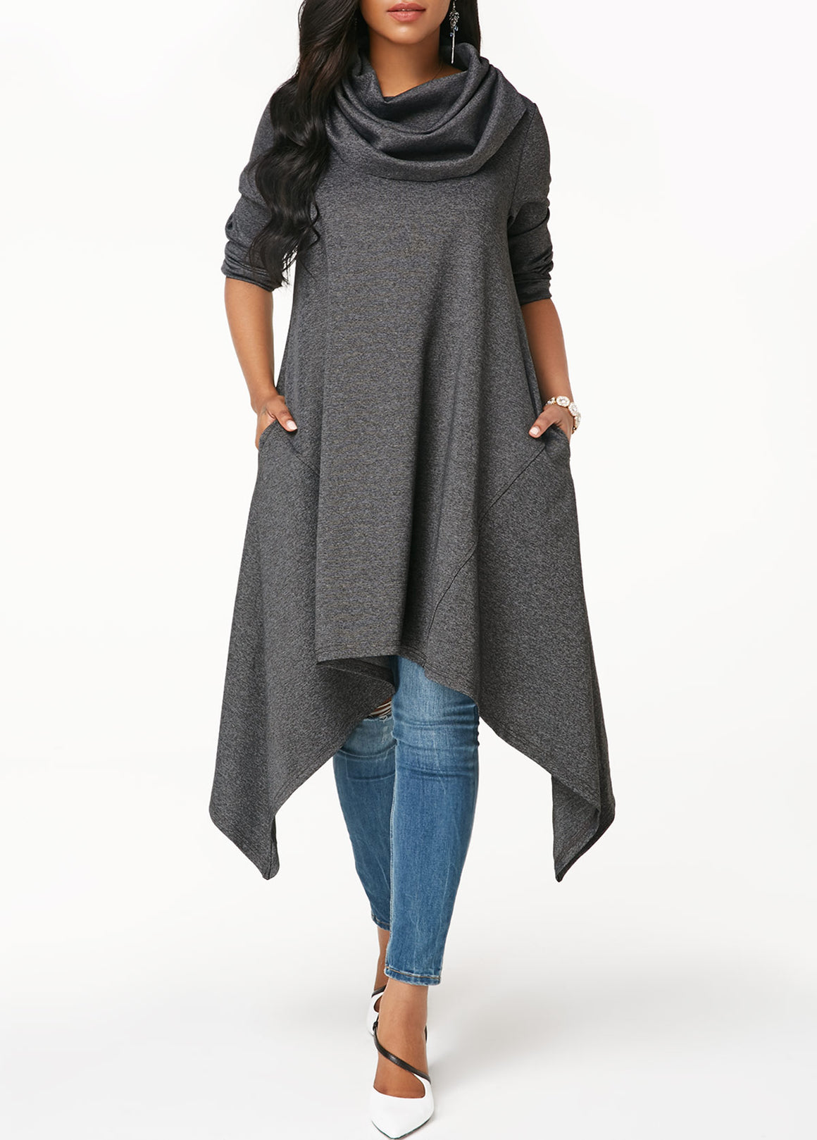 Grey Marl Asymmetric Hem Long Sleeve Sweatshirt