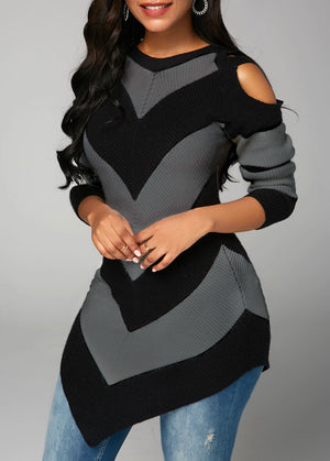 Asymmetric Hem Long Sleeve Cold Shoulder Sweater img 4