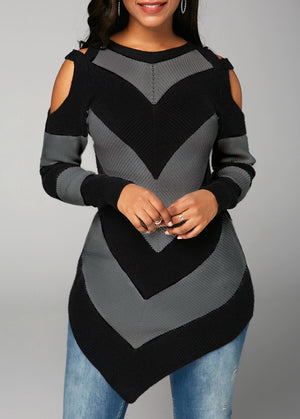 Asymmetric Hem Long Sleeve Cold Shoulder Sweater img 2