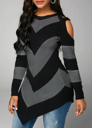 Asymmetric Hem Long Sleeve Cold Shoulder Sweater img 3