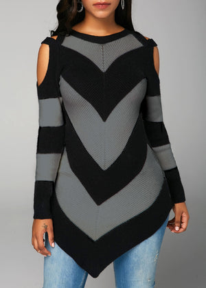Asymmetric Hem Long Sleeve Cold Shoulder Sweater img 1
