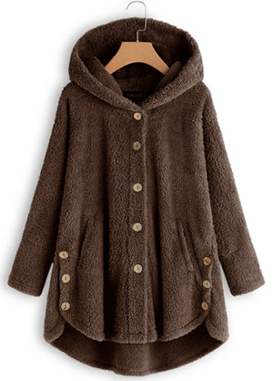 Long Sleeve Hooded Collar Button Up Coat img 1