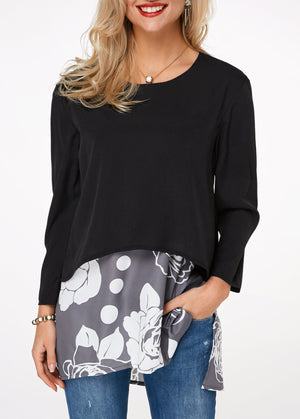 Flower Print Side Slit Faux Two Piece T Shirt img 1