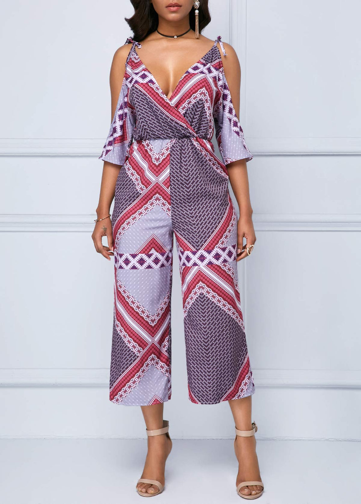 Printed Plunging Neck Strappy Cold Shoulder Jumpsuit img 1