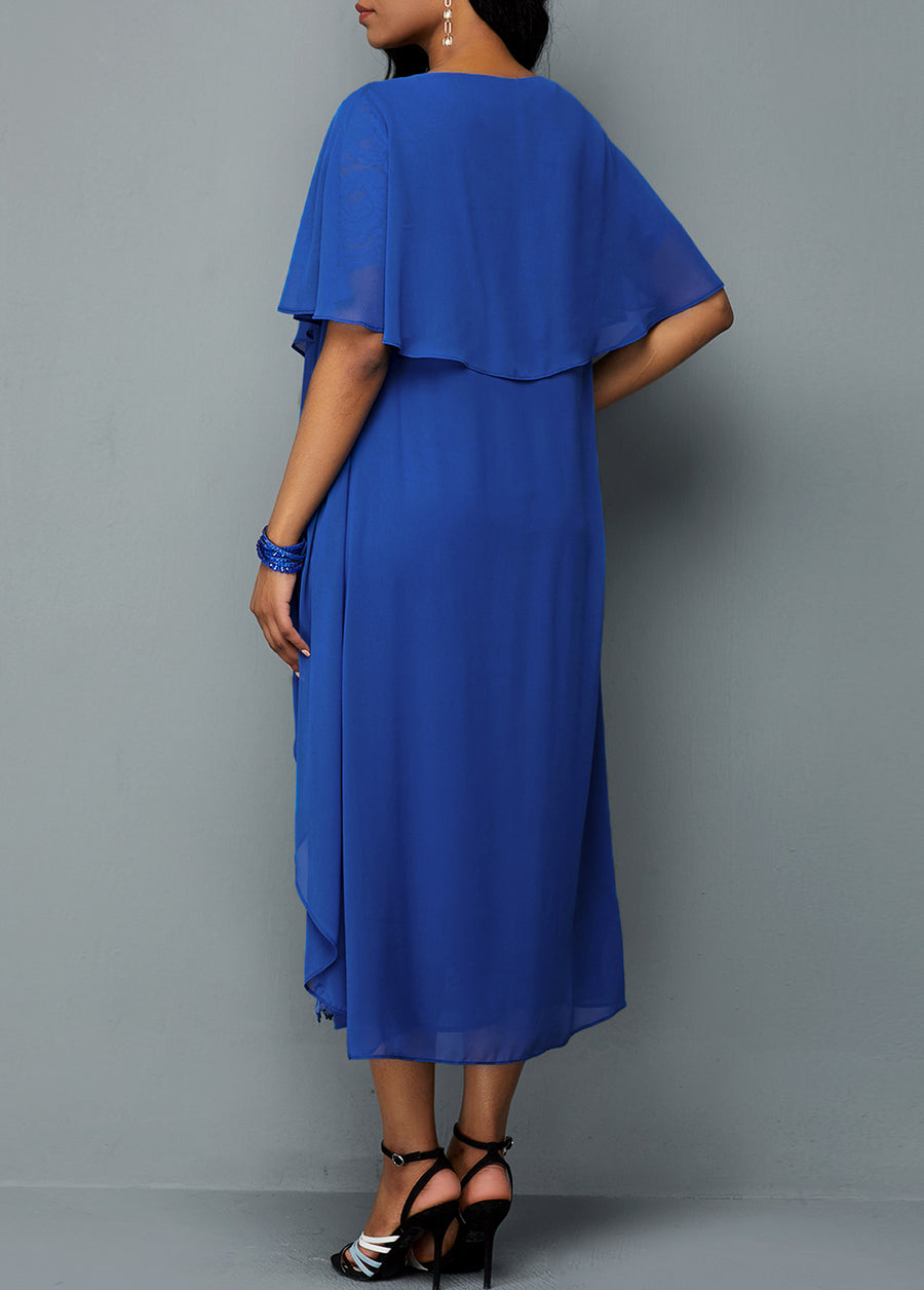 Royal Blue Faux Two Piece Lace Dress img 1