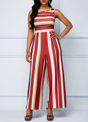 Color Block Sleeveless Round Neck Jumpsuit img 1