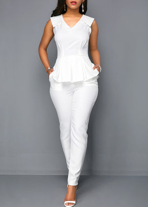 White Sleeveless V Neck Peplum Jumpsuit img 1