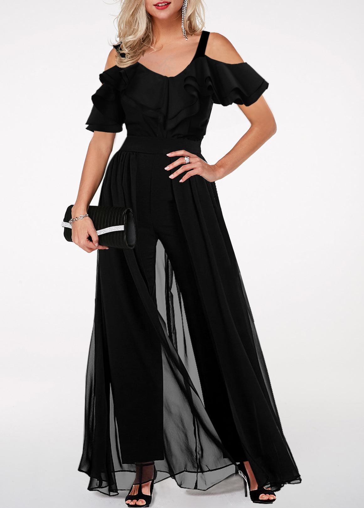 Ruffle Trim Strappy Cold Shoulder Black Jumpsuit img 1