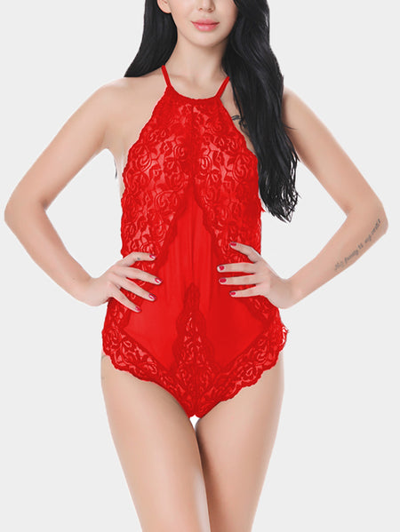 Red Halter Sheer Lace Insert Backless Teddy Bodysuit
