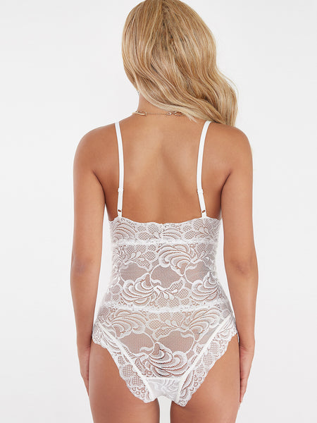 White Lace Backless Bodysuit