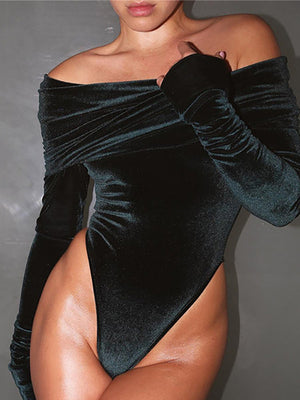Black Velvet Off Shoulder Long Sleeves Bodysuit