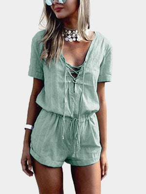 Olive Green Crossed Front Drawstring Waist Playsuit