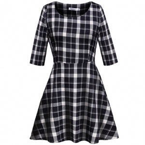 Meaneor Women Casual O-Neck Half Sleeve Plaid Print High Waist A-Line Mini Dress