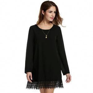 Women Loose Long Sleeve Crochet Lace Fringed Solid Short A-Line Chiffon Dress