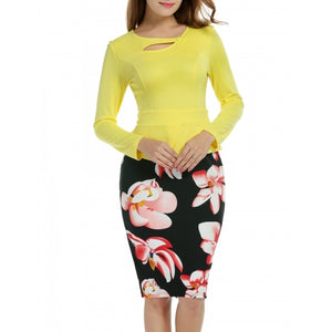 Women 3/4 Sleeve Patchwork Pencil Dress Peplum Print Package Hip OL Party Dress