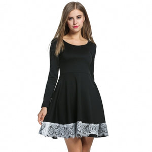 Women Long Sleeve Pleated Dress Lace Decor High Waist Slim Party Plus Dress