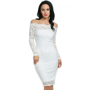 Women Strapless Off Shoulder Hollow Floral Lace Evening Party Bodycon Pencil Dress With Inner Tube Dress