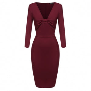Women 3/4 Sleeve V-neck Pencil Dress Bow Package Hip Slim Party Midi Knee Dress