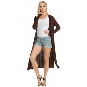 Women's Casual Long Sleeve Solid Open Front Slit Long Maxi Cardigan