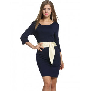 Women 3/4 Sleeve Pencil Dress Belt Decor Waist Package Hip Casual OL Knee Plus Dress