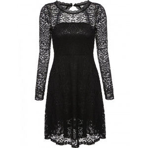 Women Casual O-Neck Long Sleeve Lace Backless Hollow Dress