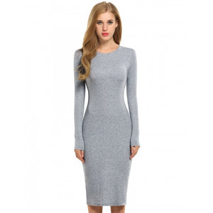Women Solid Long Sleeve Slim Bodycon Pencil Dress