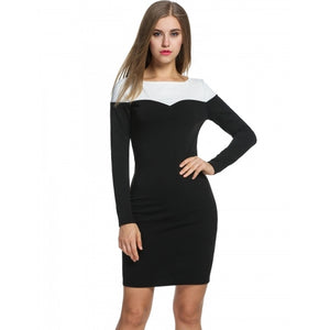 Women Long Sleeve Pencil Dress Patchwork Package Hip Knee OL Party Slim Bodycon Dress