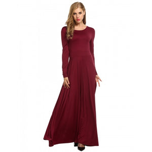 Women's Long Sleeve Solid Pleated Swing Evening Party Long Maxi Dress