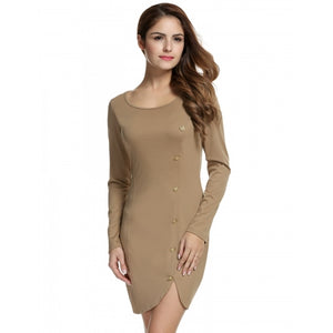 Women Long Sleeve Bodycon Dress Button Decor Solid Package Hip Mini Dress
