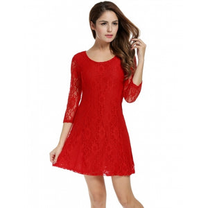 Women Crochet Lace 3/4 Sleeve A-Line Bodycon Cocktail Party Mini Dress