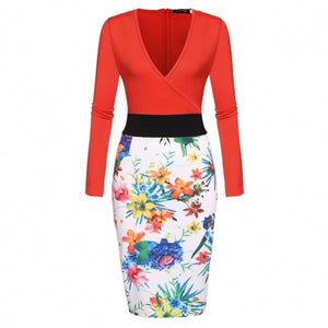 Women Long Sleeve V-neck Pencil Dress Print Package Hip Party Slim Knee Dress