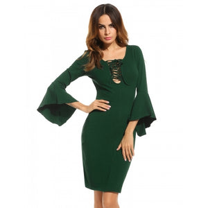 Women Lace Up Asymmetrical Flare Sleeve Bodycon Party Pencil Dress