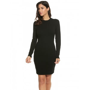 Women Mock Neck Long Sleeve Backless Slim Solid Rib Bodycon Pencil Dress