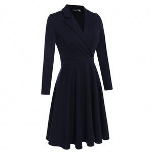 Women RetroTurn-down Collar Navy Solid Long Sleeve Dress