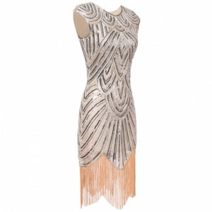 Art Deco Tassel Party Wedding Slim O Neck Flapper Dress