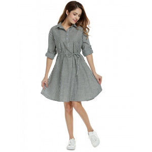 Women Casual Striped Long Roll Up Sleeve Belted A-Line Shirt Dress