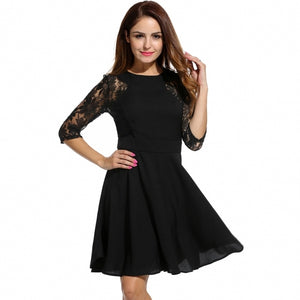 Women Casual 3/4 Sleeve Slim O Neck Knee Length Lace Solid Dress