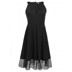 Solid Sleeveless Vintage Plus Size Dress With Pleated Swing Tulle Hem