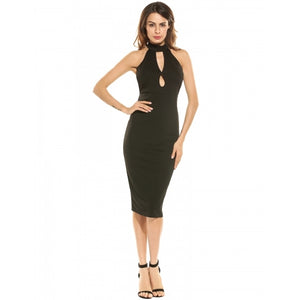 Women Halter Sleeveless Keyhole Solid Bodycon Pencil Party Dress